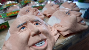 Rubber masks depicting President-elect Joe Biden sit on a work table at the Ogawa Studios in Saitama, north of Tokyo, Wednesday, Nov. 11, 2020. Ogawa Studios, a Japanese manufacturer started making the masks since the middle of October, ahead of last week's election. (AP Photo/Eugene Hoshiko)