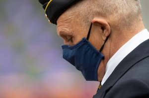 An RCMP veteran is seen during a Remembrance Day ceremony at the National War Memorial in Ottawa, Wednesday November 11, 2020. THE CANADIAN PRESS/Adrian Wyld