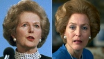 "This combination of photos shows Gillian Anderson, portraying Margaret Thatcher in a scene from the fourth season of ""The Crown,"" right, and Margaret Thatcher in Scarborough, England on March 18, 1989. Season four premieres on Sunday, Nov. 15. (AP Photo, left, and Netflix)"
