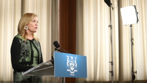 Ontario Deputy Premier and Minister of Health Christine Elliott addresses the COVID-19 daily press conference at the Ontario Legislature at Queen's Park in Toronto, Monday, June 22, 2020. THE CANADIAN PRESS/Richard Lautens -Pool