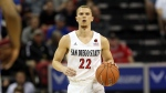 FILE - In this March 5, 2020, file photo, San Diego State's Malachi Flynn brings the ball up against Air Force during the second half of a Mountain West Conference tournament NCAA college basketball game in Las Vegas. Flynn was selected by the Toronto Raptors in the NBA draft Wednesday, Nov. 18, 2020. (AP Photo/Isaac Brekken, File)