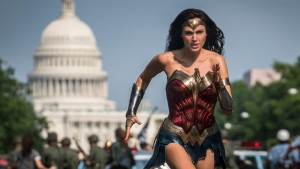 "This image released by Warner Bros. Pictures shows Gal Gadot as Wonder Woman in a scene from ""Wonder Woman 1984."" (Clay Enos/Warner Bros Pictures via AP)"