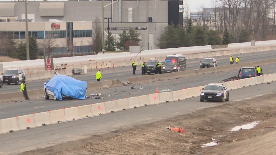 Two people are dead, one person is in critical condition, after multi-vehicle crash on Highway 401 in Mississauga.