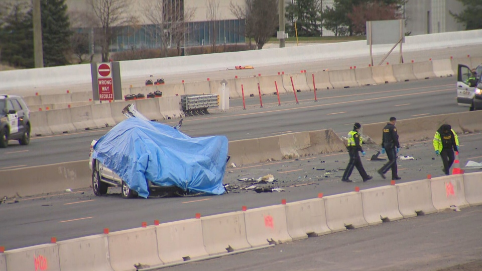 Ontario Provincial Police are investigating after a multi-vehicle crash on Highway 401 in Mississauga left two people dead Saturday morning.