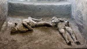 The casts of what are believed to have been a rich man and his male slave fleeing the volcanic eruption of Vesuvius nearly 2,000 years ago, are seen in what was an elegant villa on the outskirts of the ancient Roman city of Pompeii destroyed by the eruption in 79 A.D., where they were discovered during recents excavations, Pompeii archaeological park officials said Saturday, Nov. 21, 2020. (Parco Archeologico di Pompei via AP)