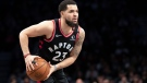 FILE - Fred VanVleet agreed Saturday, Nov. 21, 2020, to a four-year, $85 million contract to remain with the Toronto Raptors, a person with direct knowledge of the discussions told The Associated Press on condition of anonymity because the contract remains unsigned. (AP Photo/Mary Altaffer, File)