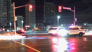 Police vehicles are seen on Highway 7 after a shooting involving police in Vaughan on Nov. 23, 2020. (Mike Nguyen/CP24)