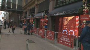 The Bay on Queen Street West remained open on Monday despite Toronto's 28-day lockdown.