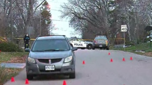 Police are seen in the Port Union area after a fatal stabbing on Nov. 16, 2020. (CP24)