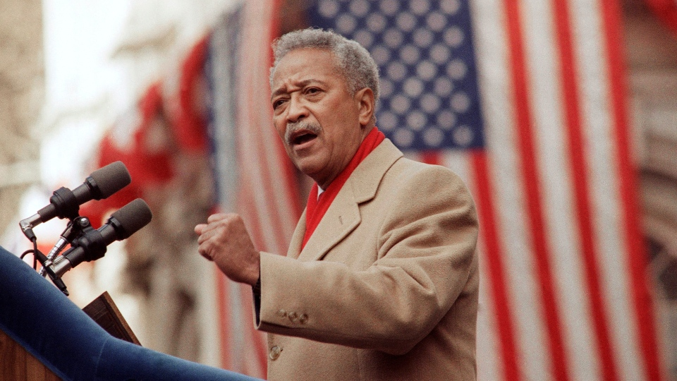 In this Monday, Jan. 2, 1990, file photo, David Dinkins delivers his first speech as mayor of New York, in New York. (AP Photo/Frankie Ziths, File)