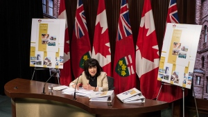 Ontario Auditor General Bonnie Lysyk speaks during a press conference at Queens Park after the release of her 2019 annual report in Toronto on Wednesday, December 4, 2019. THE CANADIAN PRESS/Aaron Vincent Elkaim