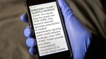 An emergency alert is seen on a cellular phone in Dartmouth, N.S. on Friday, April 10, 2020. The message was delivered to mobile devices and televisions across Nova Scotia urging all residents to only leave their home for essentials during the COVID-19 pandemic. THE CANADIAN PRESS/Andrew Vaughan