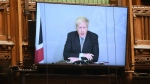 Britain's Prime Minister Boris Johnson speaks via video link, during Prime Minister's Questions in the House of Commons in London, Wednesday, Nov. 25, 2020. (Jessica Taylor/UK Parliament via AP)