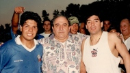 Diego Maradona, right, poses for a photo with Toronto Italia owner Pasquale Fioccola, centre, and brother Lalo Maradona after playing for Toronto Italia in an exhibition game against the Canadian National Soccer League all-stars at Birchmount Stadium in Toronto on Sept. 2, 1996.THE CANADIAN PRESS/HO - Fioccola Family