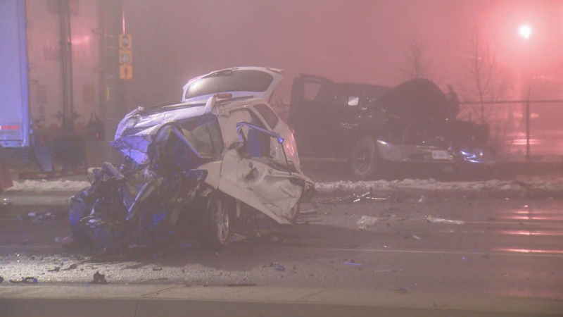 Three people have injuries following a collision on James Snow Parkway in Milton early Thursday morning.