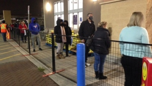 Shoppers lineup outside of Walmart on Dundas St. for Black Friday. (Courtesy: Cam Woolley)