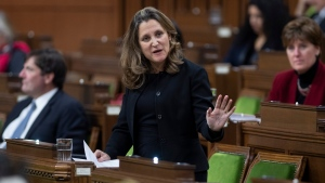 Deputy Prime Minister and Minister of Finance Chrystia Freeland responds to a question during Question Period in the House of Commons Monday November 23, 2020 in Ottawa. THE CANADIAN PRESS/Adrian Wyld