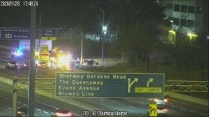 Emergency crews are on the scene of a collision on Highway 427. (MTO)