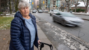 Catherine Riddell, one of the survivors of the van attack, near the attack site in Toronto on Wednesday, November 25, 2020.  THE CANADIAN PRESS/Frank Gunn