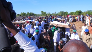 Funeral for victims of rice and fishermen farmers that were killed by suspected Boko Haram in Zaabarmar, Borno, Nigeria, Sunday, Nov 29, 2020. Suspected Boko Haram militants killed at least 40 rice farmers and fishermen while they were harvesting crops in Nigeria's northern Borno State, officials said. (AP Photo/Jossy Ola)