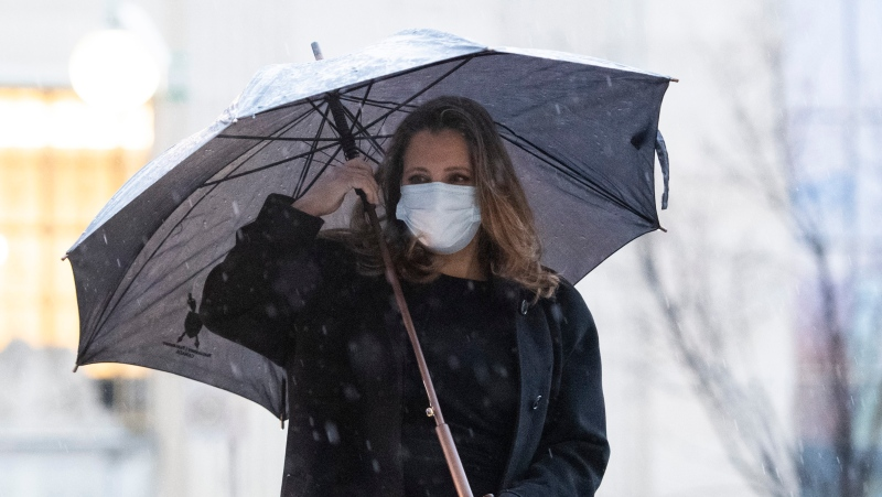 Deputy Prime Minister and Minister of Finance Chrystia Freeland walks in the rain to table a fiscal update in the House of Commons, in Ottawa, on Monday, Nov. 30, 2020. THE CANADIAN PRESS/Justin Tang