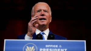 President-elect Joe Biden speaks at The Queen theater Wednesday, Nov. 25, 2020, in Wilmington, Del. (AP Photo/Carolyn Kaster)