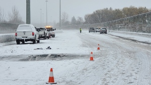 A woman is dead after a multi-vehicle crash in Kitchener Tuesday morning. (Courtesy: Twitter/OPP_HSD)
