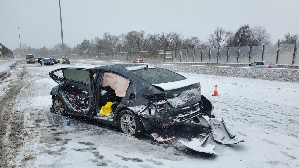 Police are on the scene of a multi-vehicle crash in Kitchener on Highway 7/8 near Fischer Hallman Road that killed a woman. (Courtesy: Twitter/OPP_HSD)