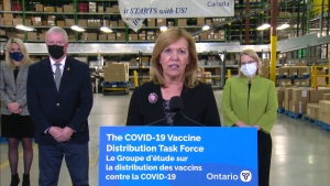 Health Minister Christine Elliott speaks with reporters following a tour of a Brampton warehouse belonging to the pharmaceutical distribution company McKesson on Tuesday.