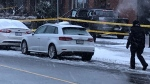 Police tape is shown at the scene of a homicide investigation on Dufferin Street south of Lawrence Avenue on Tuesday afternoon. (Sean MacInnes)