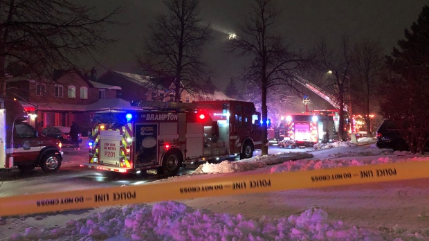 Emergency crews attend the scene of a two-alarm fire in Brampton, Ont. on Dec. 1, 2020. (Beth Macdonell/CTV News Toronto)