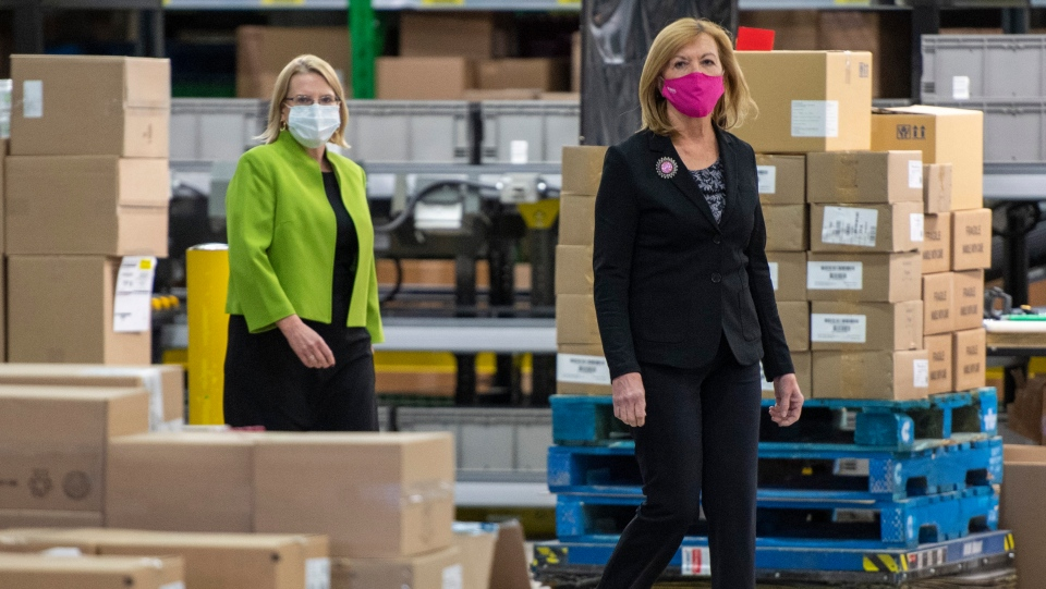 Ontario Health Minister Christine Elliott and Solicitor General Sylvia Jones arrive for a briefing at McKesson Canada in Toronto on Tuesday December 1, 2020. THE CANADIAN PRESS/Frank Gunn