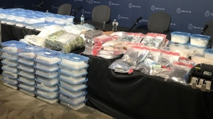 A large quantity of drugs recently seized by Toronto police as part of two separate investigations is shown. (Ron Dhaliwal)