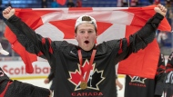 Canada's Alexis Lafreniere celebrates after defeating Russia 4-3 in the gold medal game at the World Junior Hockey Championships, Sunday, January 5, 2020 in Ostrava, Czech Republic. THE CANADIAN PRESS/Ryan Remiorz