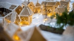 A gingerbread village made by local residents preparing for Christmas is displayed in a school in Geresdlak, Hungary, Tuesday, Dec. 1, 2020. Due to the coronavírus pandemic, the exhibition is not open to the public. (Tamas Soki/MTI via AP)