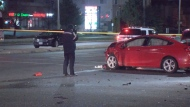 A female has serious non-life threatening injuries following a crash in Mississauga early Saturday morning.