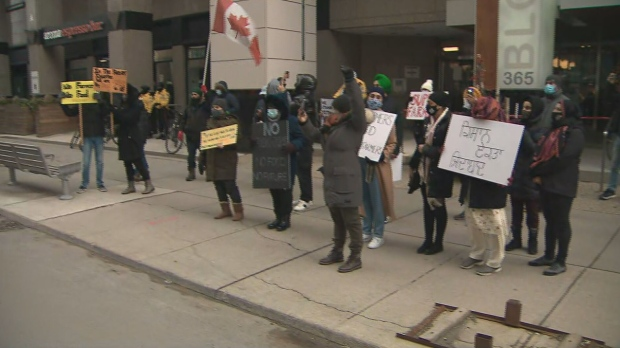 Protesters gathered outside the Indian Consulate in Toronto to rally against new agriculture bills passed in India.