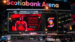 Toronto Raptors guard Kyle Lowry is shown on the screen at Scotiabank Arena, where the Toronto Raptors and the Toronto Maple Leafs play, in Toronto, Friday, Nov. 20, 2020. THE CANADIAN PRESS/Nathan Denette