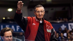 Walter Gretzky father of hockey hall-of-famer Wayne Gretzky waves to fans as the Buffalo Sabres play against the Toronto Maple Leafs during third period NHL hockey action in Toronto on Tuesday, January 17, 2017. THE CANADIAN PRESS/Nathan Denette