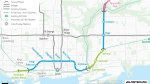 A map of the proposed route of the Ontario Line included in a preliminary business design case released by the province Thursday December 17, 2020 is pictured. (Metrolinx)