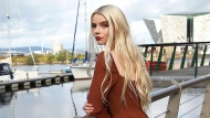 Anya Taylor-Joy poses for a portrait in Belfast's Titanic area in Northern Ireland on Tuesday, Oct. 6, 2020. (AP Photo/Peter Morrison)