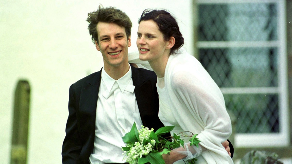 In this May 22, 1999 file photo, Stella Tennant with French born David Lasnet on their wedding day in Oxnam, on the Scottish Borders.  (David Cheskin/PA via AP, FIle)