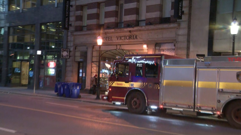 A fire truck is shown outside the Victoria Hotel on Yonge Street on Tuesday morning.