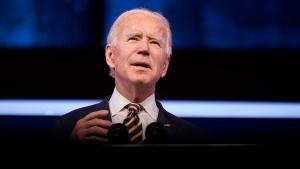 U.S. President-elect Joe Biden speaks at The Queen theatre, Tuesday, Dec. 29, 2020, in Wilmington, Del. (AP Photo/Andrew Harnik)