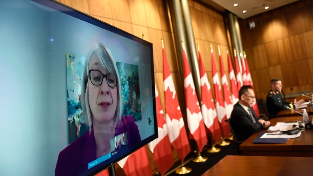 Minister of Health Patty Hajdu is seen via videoconference as she participates in a news conference on the COVID-19 pandemic in Ottawa, on Wednesday, Dec. 30, 2020. THE CANADIAN PRESS/Justin Tang