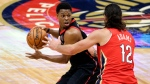 Toronto Raptors guard Kyle Lowry (7) tries to get around New Orleans Pelicans center Steven Adams (12) during the first half of an NBA basketball game on Saturday, Jan. 2, 2021, in New Orleans. (AP Photo/Butch Dill)