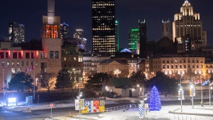 A section of the Montreal skyline is shown in Montreal, Saturday, January 9, 2021, as the COVID-19 pandemic continues in Canada and around the world. The Quebec government has imposed a curfew to help stop the spread of COVID-19 starting at 8 p.m until 5 a.m. THE CANADIAN PRESS/Graham Hughes