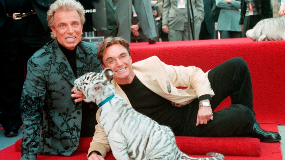 Illusionists Siegfried Fischbacher, left and Roy Uwe Ludwig Horn pose for photographers with a white tiger cub after they unveiled their star on the Hollywood Walk of Fame in Los Angeles, Calif., on Sept. 23, 1994. German news agency dpa is reporting that Fischbacher, the surviving member of duo Siegfried & Roy has died in Las Vegas at age 81. The news agency said Thursday that Fischbacher's sister, a nun who lives in Munich, confirmed his death of cancer. Fischbacher's long-time show business partner, Roy Horn, died in May of complications from COVID-19 at a Las Vegas hospital. (AP Photo/Neil Jacobs, File)