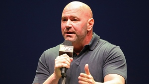 In this Sept. 19, 2019, file photo, UFC President Dana White speaks at a news conference in New York. (AP Photo/Gregory Payan)