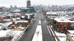 A near-empty Rene-Levesque Boulevard is seen under Quebec's new COVID-19 lockdown in Montreal, on Wednesday, January 13, 2021. THE CANADIAN PRESS/Paul Chiasson